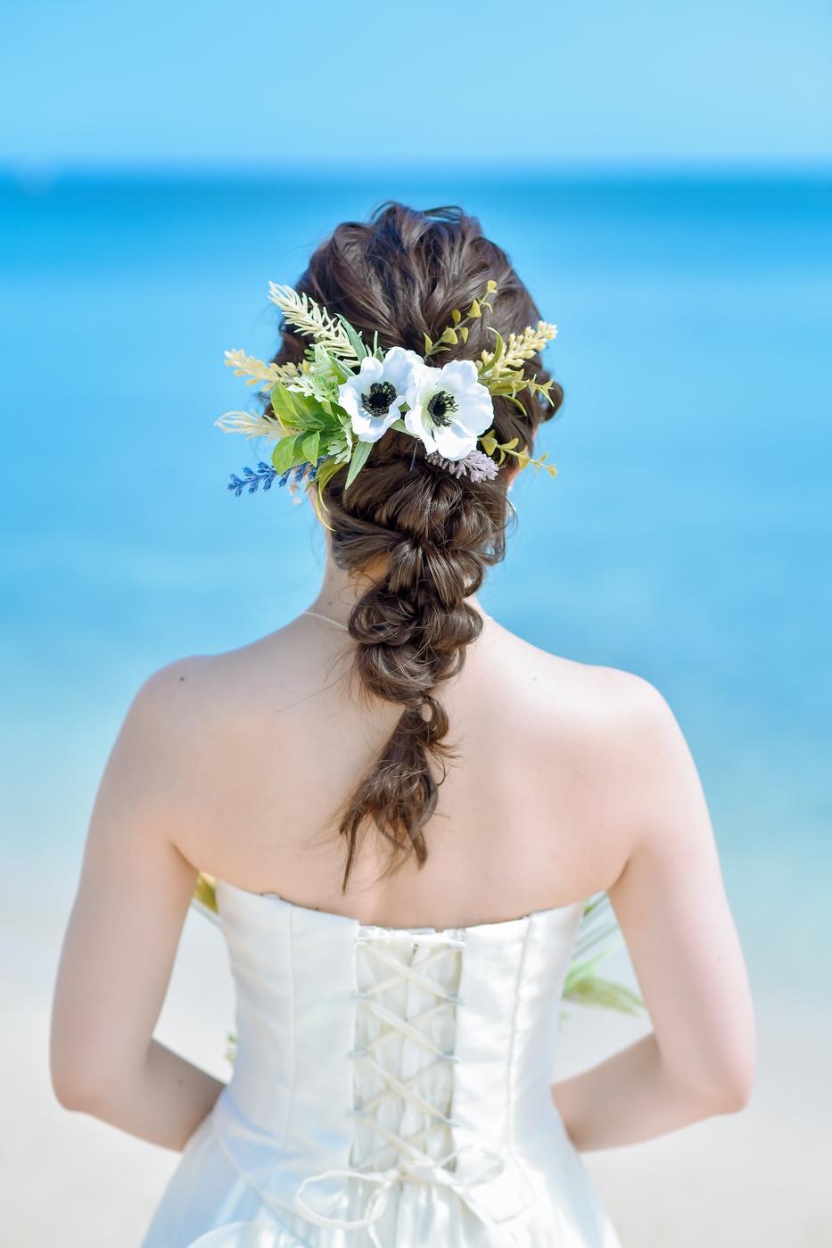 編み込みヘア ロングの花嫁様