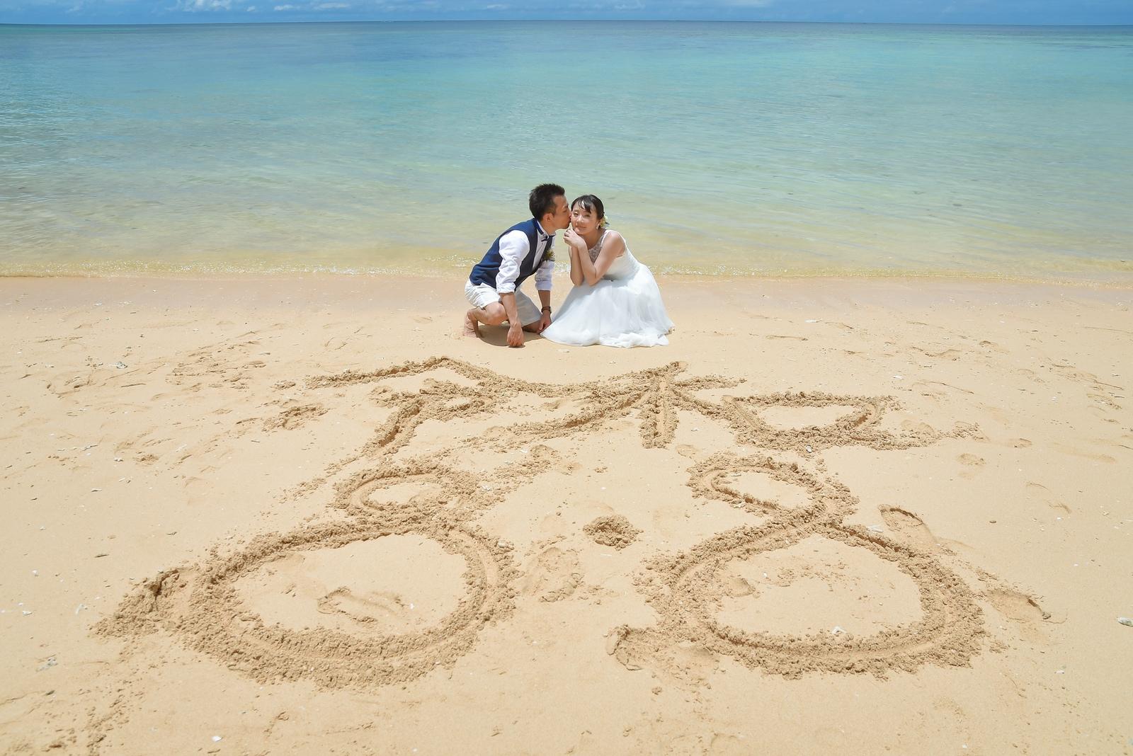 ビーチに砂文字を描いて